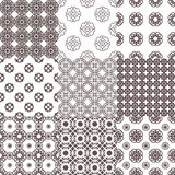 Collection of graphical vector seamless patterns. Abstract geometric wallpapers. Ornamental decorative background for cards, invitations, web design Stock Photo