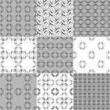 Collection of graphical vector seamless patterns. Abstract geometric wallpapers. Ornamental decorative background for cards, invitations, web design Stock Photos