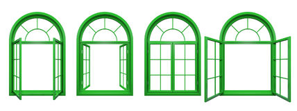 Collection of green arched windows isolated on white Stock Photo