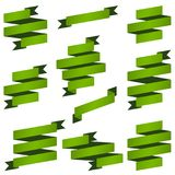 Collection green banners. Big collection of green retro banners vector file Stock Image