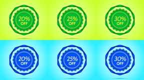 Collection of Green and Blue Sale Badges. Vector Badge with Offer of Discount 20 25 30 Percent Off, surrounded by Twisted Ribbon, on the Lime and Light-blue Stock Photography