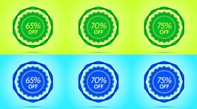 Collection of Green and Blue Sale Badges. Vector Badge with Offer of Discount 65 70 75 Percent Off, surrounded by Twisted Ribbon, on the Lime and Light-blue Royalty Free Stock Photos