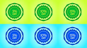 Collection of Green and Blue Sale Badges. Vector Badge with Offer of Discount 5 10 15 Percent Off, surrounded by Twisted Ribbon, on the Lime and Light-blue Royalty Free Illustration