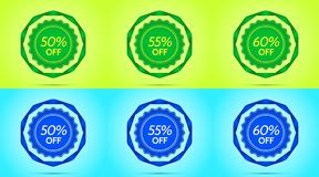 Collection of Green and Blue Sale Badges. Vector Badge with Offer of Discount 50 55 60 Percent Off, surrounded by Twisted Ribbon, on the Lime and Light-blue vector illustration