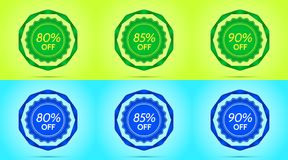 Collection of Green and Blue Sale Badges. Vector Badge with Offer of Discount 80 85 90 Percent Off, surrounded by Twisted Ribbon, on the Lime and Light-blue stock illustration