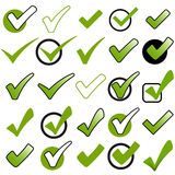 Collection green checkmarks Stock Photo