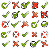 Collection green checkmarks and red crosses Stock Photography