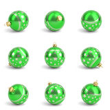 Collection of green christmas balls. White isolated. 3D render Stock Photo