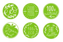 Collection of green circle label with hand-drawn lettering about healthy eco food, vegan. Set of healthy lifestyle stickers with royalty free stock image