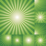 Collection of green color burst background. Royalty Free Stock Photography