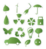 Collection of green eco-icons Stock Photography