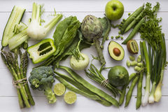 Collection of green fruit and vegetable ingredients Royalty Free Stock Images
