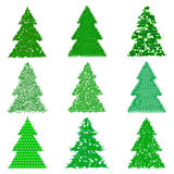 Collection of green fur-trees in cartoon style.Vector illustration Royalty Free Stock Photo