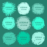 Collection of green hand-drawn scribble circles for your design. Vector Royalty Free Stock Images