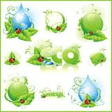 Collection of green icons. Stock Image