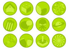 Collection of green icons. A view of a collection of green illustrated icons on a white background Stock Images