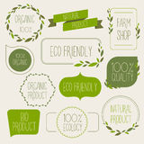 Collection of green labels and badges for organic, natural, bio Royalty Free Stock Images