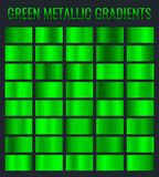 Collection of green metallic gradient. Brilliant plates with chrome effect. Vector illustration.  stock illustration