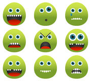 Collection of 9 green monster emoticons Stock Images