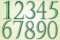 Collection of green numbers made of swirls Royalty Free Stock Images