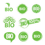 Bio logo. Collection of green round icons bio Stock Images