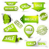 Collection of  green sale tickets, labels, stamps Stock Image