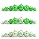 Collection of green and silver christmas balls. White isolated. 3D render Royalty Free Stock Images