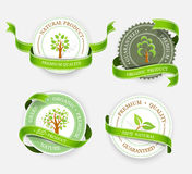 Collection of green stickers stock illustration