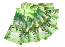 Collection of green ten rand South African Bank notes on white Royalty Free Stock Photos