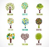 Collection of green tree - logos and icons Royalty Free Stock Photography