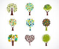 Collection of green tree - logos and icons Stock Image