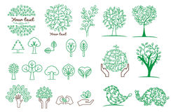 Collection of green tree ,logos and icons Stock Photo