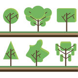 Collection green tree set vector illustration. Flat style. Stock Image