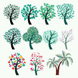 Collection of green trees . Set of abstract stylized trees Royalty Free Stock Image