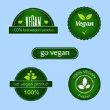 Collection of green vegan food labels and badges Royalty Free Stock Image