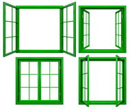 Collection of green window frames isolated on white Royalty Free Stock Image