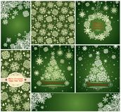 Collection of green xmas cards with paper snowflakes Stock Images