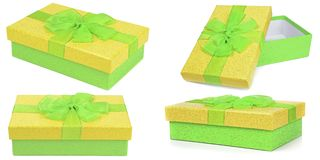 Collection of green and yellow gift boxes Stock Photo