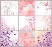 Collection of greeting beautiful floral cards Stock Photo