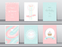 Collection of  greeting or birthday card,  illustrations Royalty Free Stock Image
