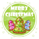 Collection Greeting Card, Christmas Trees Cookies Royalty Free Stock Photo