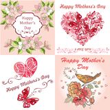 Collection Greeting Card Happy Mother`s Day. Postcard Mother`s Day with spring flowers, butterflies. vector illustration