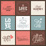 Collection of greeting card for Valentines Day celebration. Set of beautiful greeting cards for Happy Valentines Day celebration Stock Photo