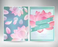 Collection of greeting cards with a blossom lotusfor your design. texture with japanese floral pattern Royalty Free Stock Photos