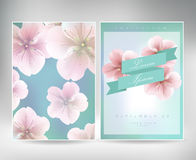 Collection of greeting cards with a blossom sakura for your design. texture with japanese floral pattern Royalty Free Stock Images