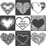 Collection of greeting cards with hearts. Vector illustration stock illustration