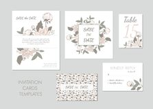Collection of greeting cards template with pink flowers. vector illustration