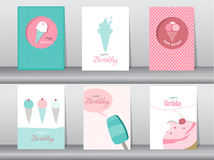 Collection of greeting and invitation card,birthday, holiday, christmas,ice cream,sweet,summer,gift,cartoon, illustration royalty free illustration