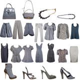 Collection of grey clothes and accessories royalty free stock images