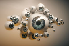 Collection of grey eyeballs. Abstract collection of different sized grey eyeballs on light background. 3D Rendering Stock Photos